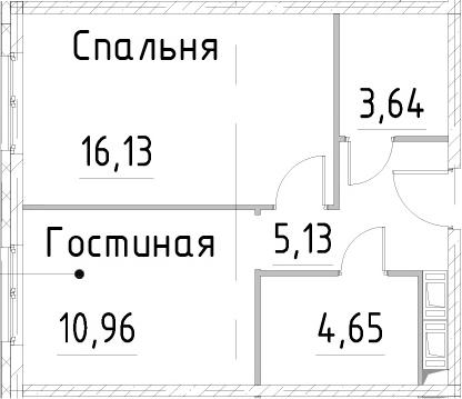 1-к.кв, 40.5 м², 23 этаж