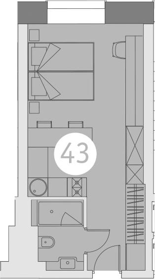 Студия, 26.77 м²