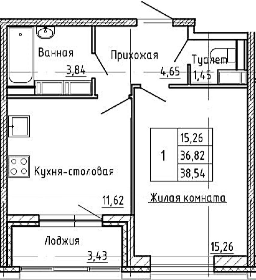 1-к.кв, 38.54 м²