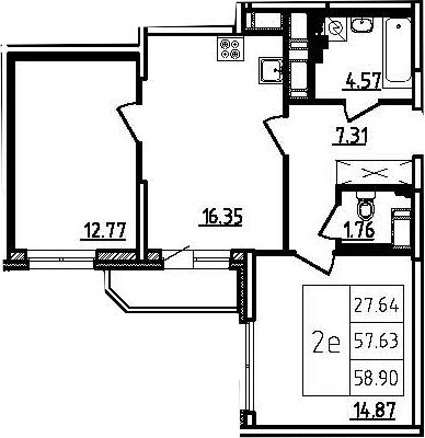 2-к.кв (евро), 60.17 м²
