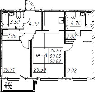 3Е-к.кв, 60.02 м², от 2 этажа