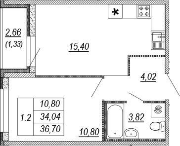 2Е-к.кв, 34.04 м², 2 этаж