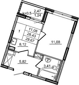 1-к.кв, 29.67 м², 2 этаж