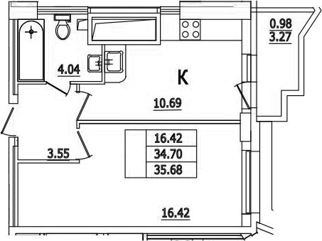 1-комнатная, 35.68 м²– 2