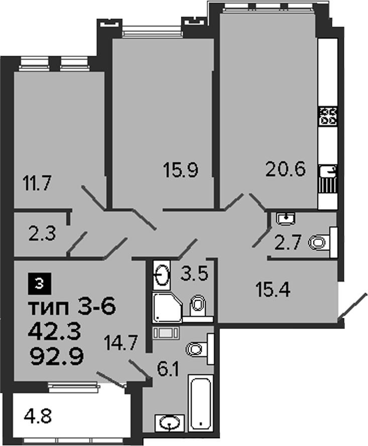 3-к.кв, 97.7 м²