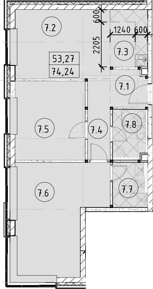 3Е-комнатная, 74.24 м²– 2