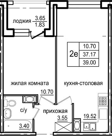 2Е-к.кв, 39 м², 8 этаж