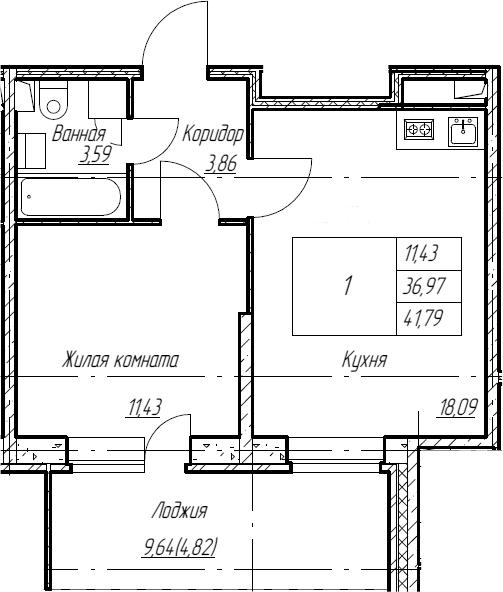 2Е-к.кв, 41.79 м², 2 этаж