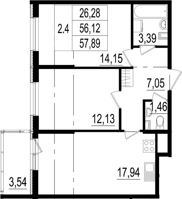 3Е-к.кв, 56.12 м²