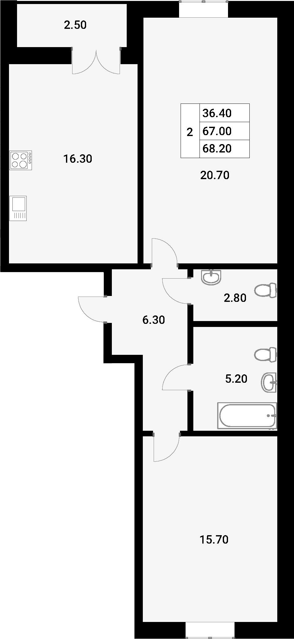 2-к.кв, 69.45 м²