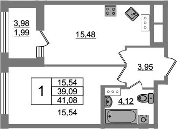 1-к.кв, 39.09 м², от 8 этажа