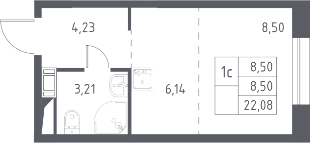 Студия, 22.08 м²– 2