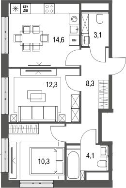 2-к.кв, 52.7 м², от 3 этажа