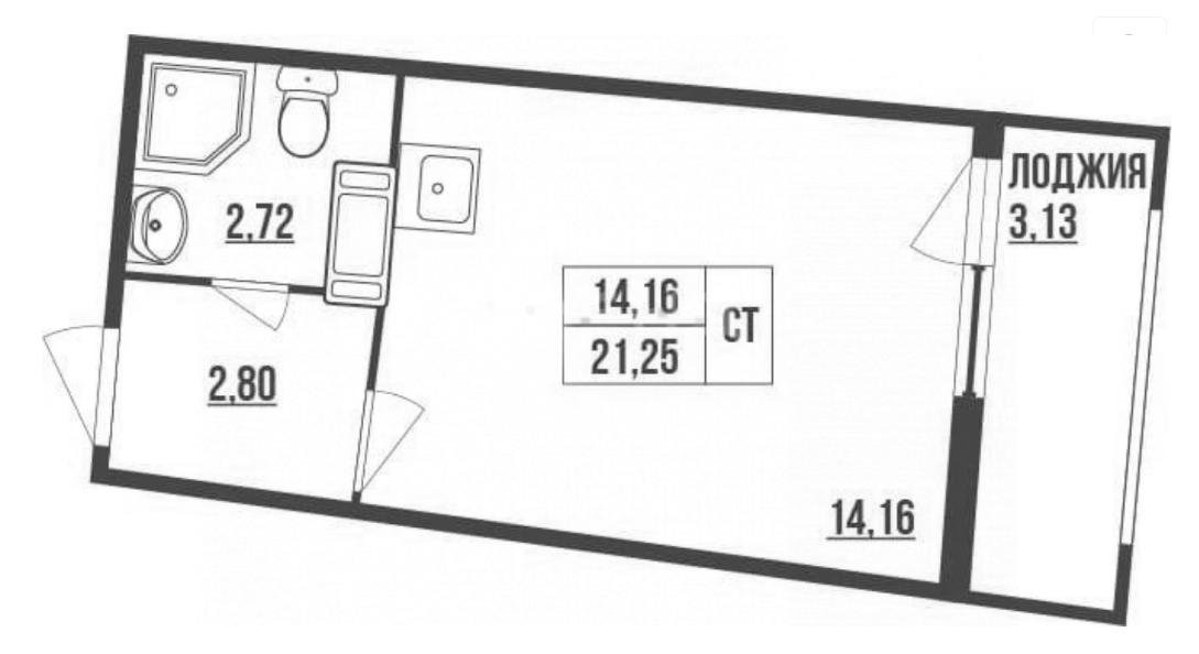 Студия, 21.25 м²– 2