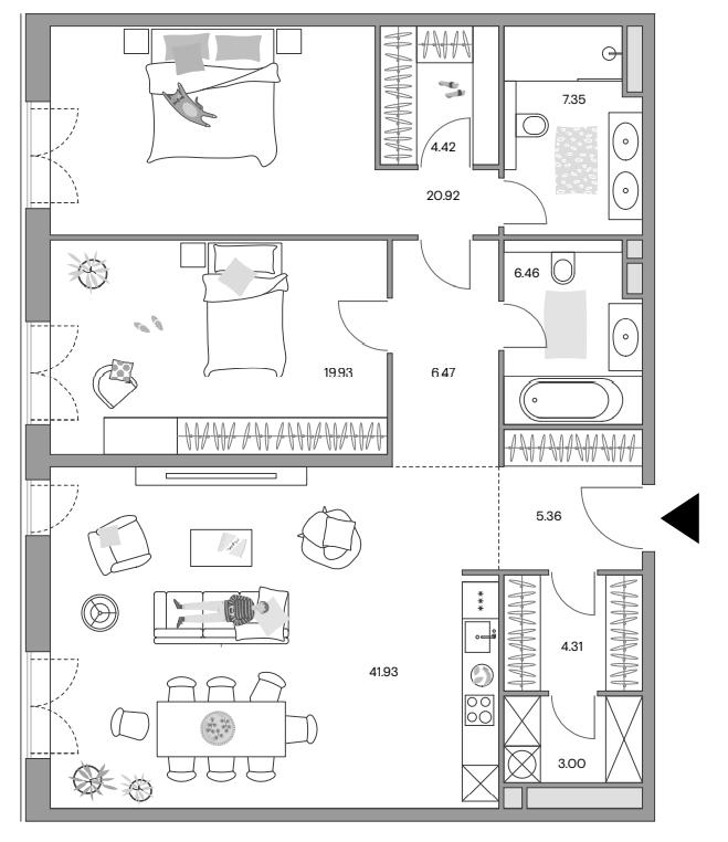 3Е-комнатная квартира, 119.49 м², 18 этаж – Планировка