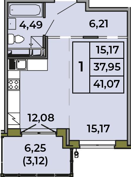 Студия, 37.95 м², 2 этаж