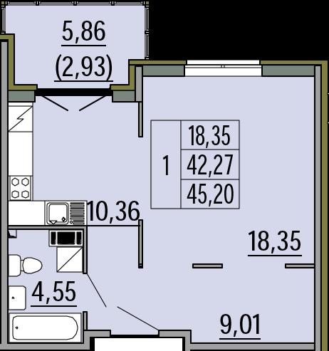 1-комнатная, 45.2 м²– 2