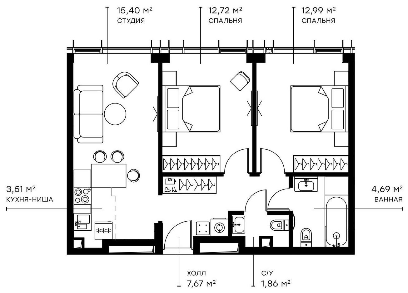 3Е-комнатная, 58.84 м²– 2
