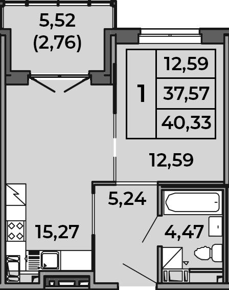 2Е-к.кв, 40.33 м², 4 этаж