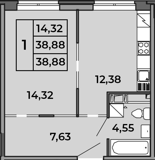 1-к.кв, 38.88 м², от 2 этажа