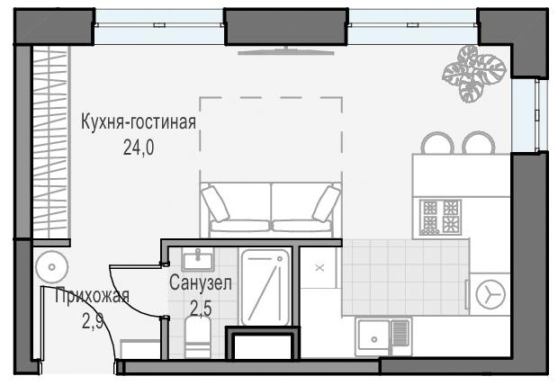Студия, 29.3 м²– 2