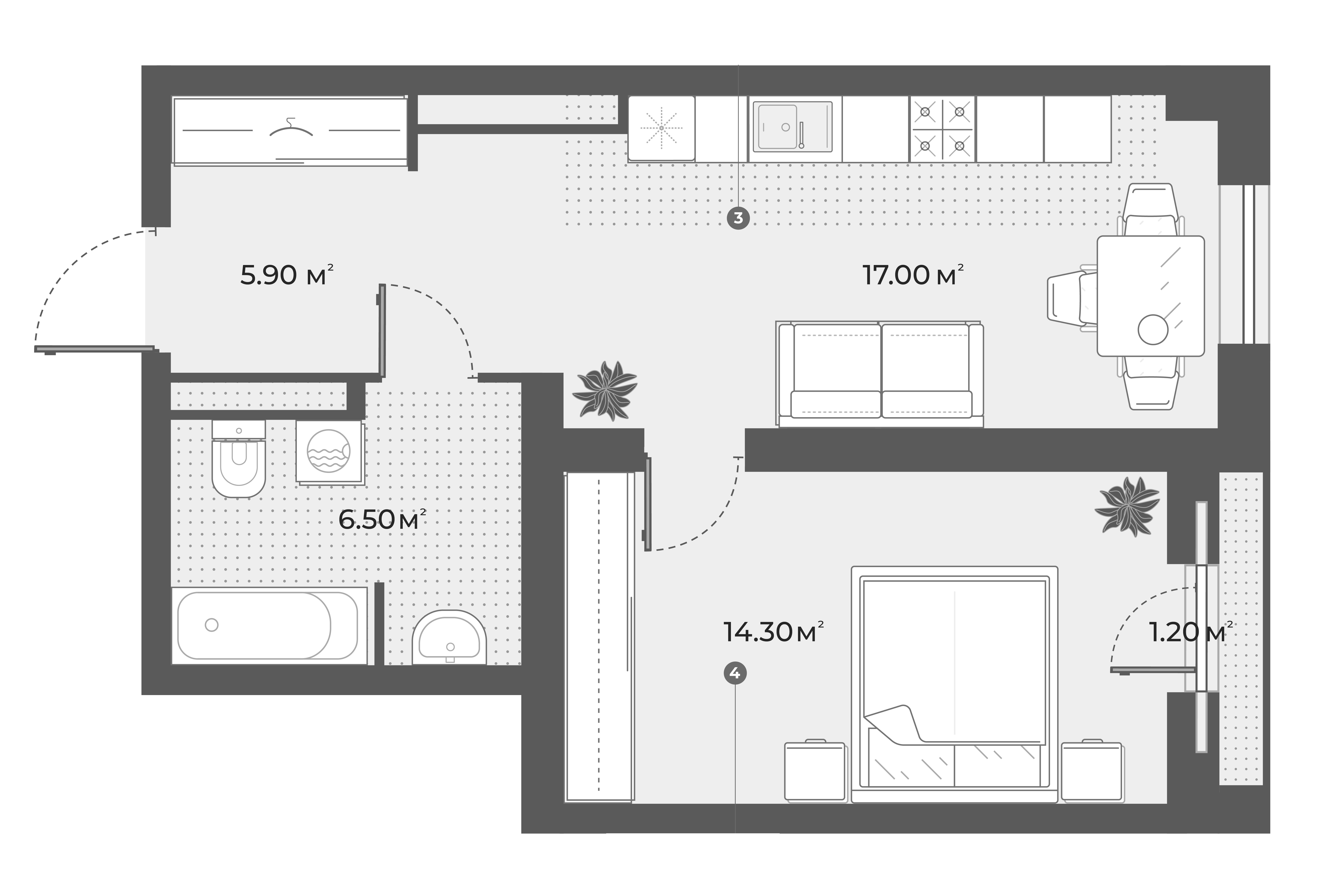 2Е-к.кв, 43.7 м², 2 этаж