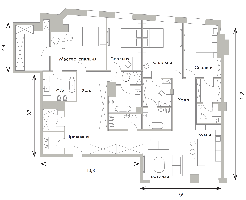 5Е-к.кв, 240.5 м²