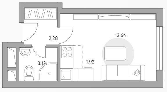 Студия, 20.96 м²