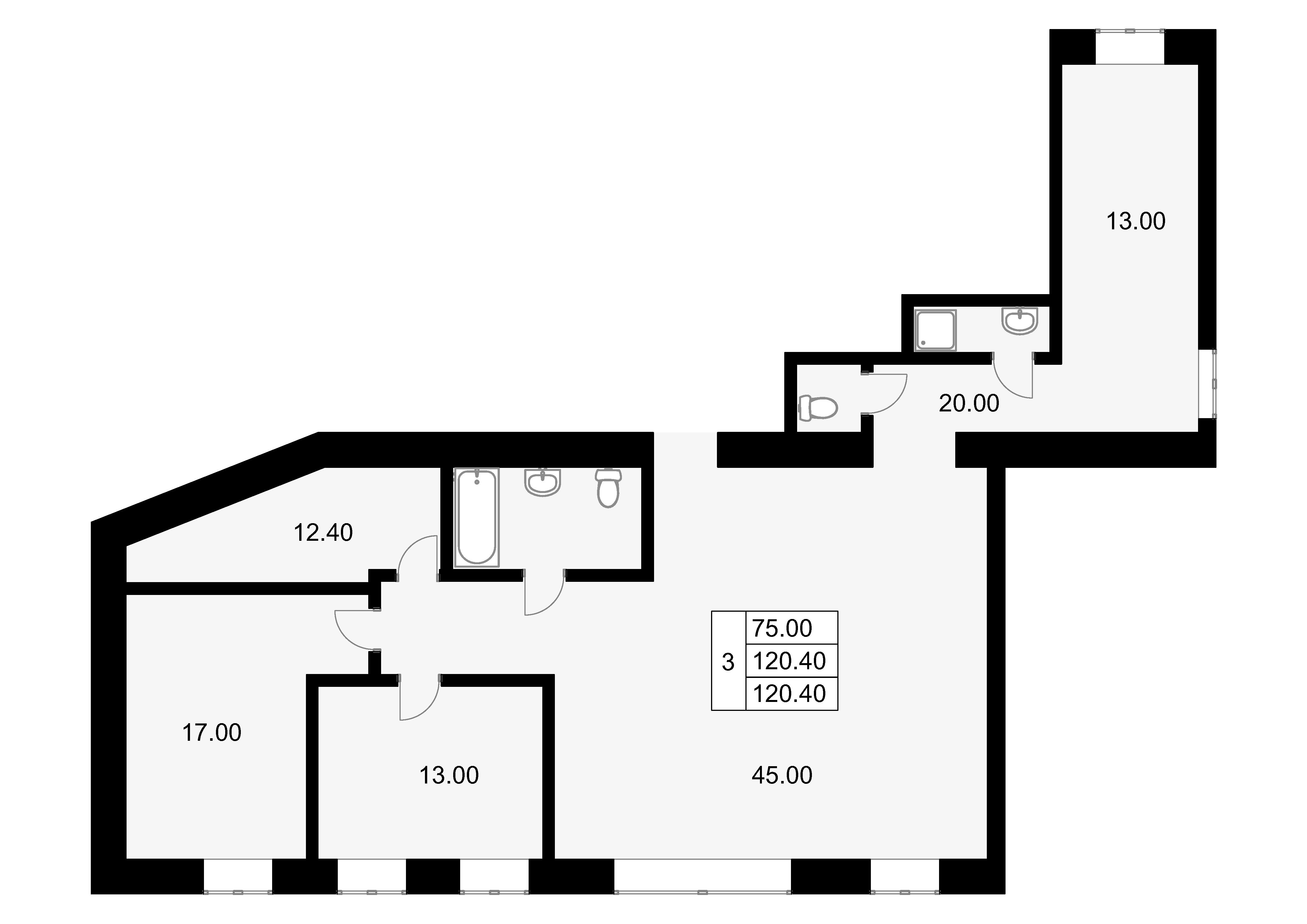 3-к.кв, 120.4 м²