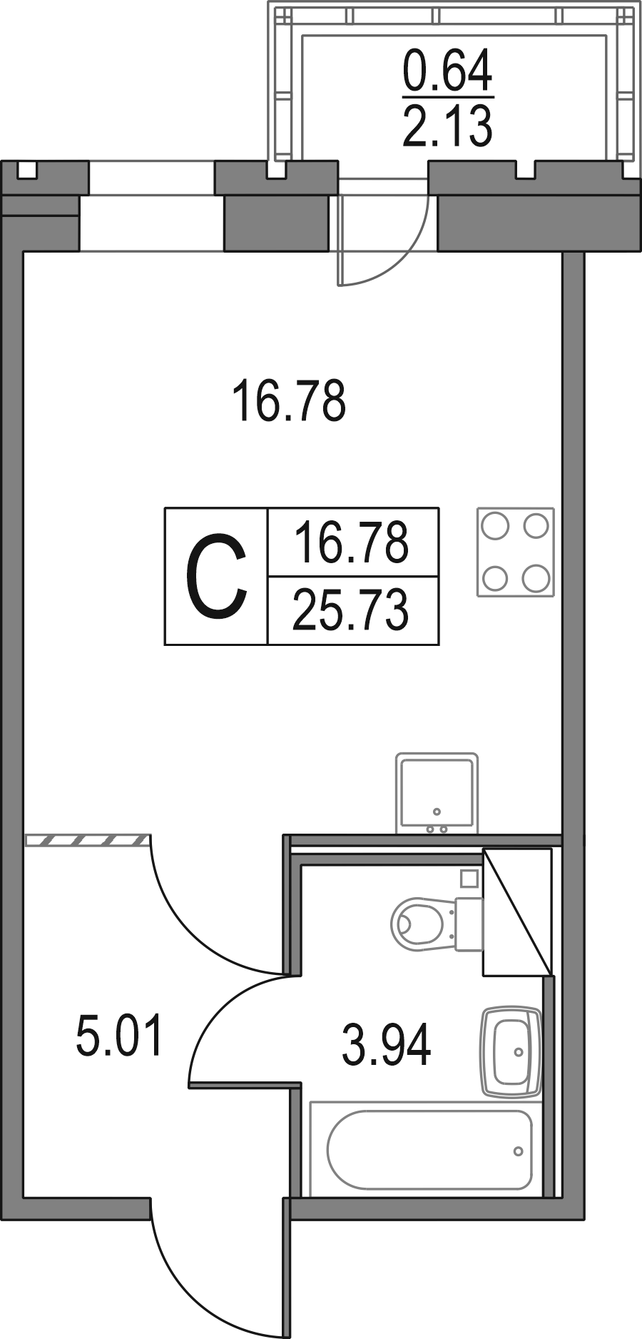 Студия, 25.73 м²– 2