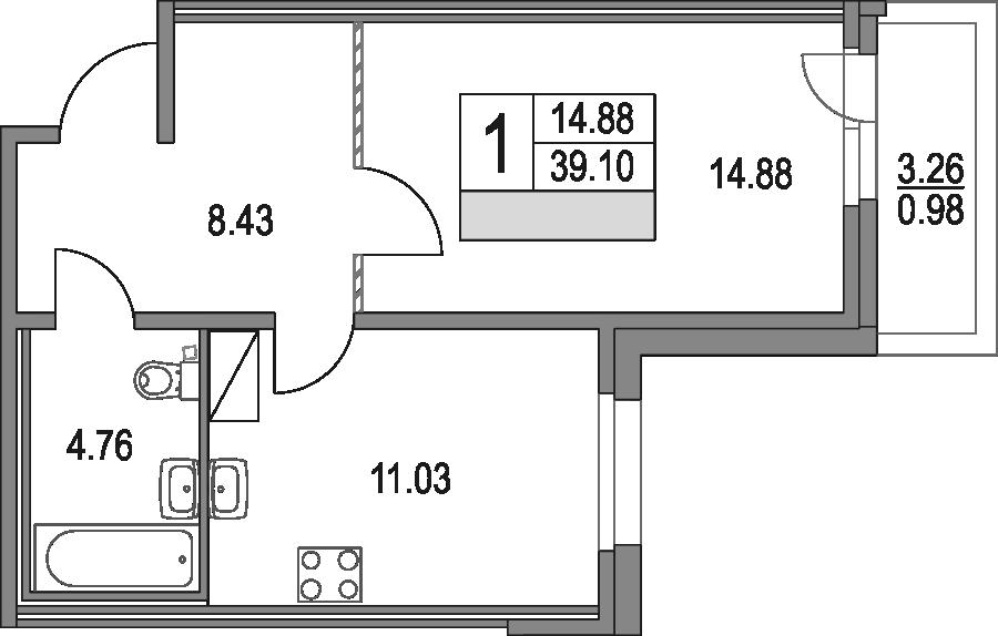 1-к.кв, 39.1 м², от 4 этажа