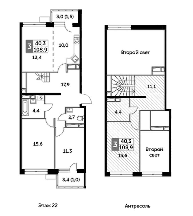 4Е-к.кв, 108.9 м², 22 этаж
