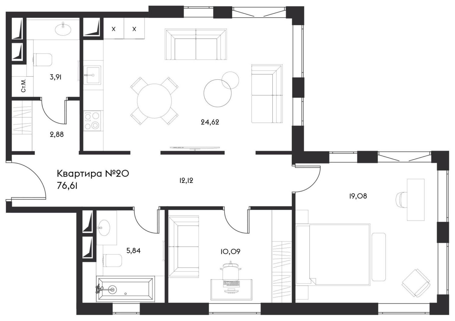 3Е-комнатная, 76.61 м²– 2