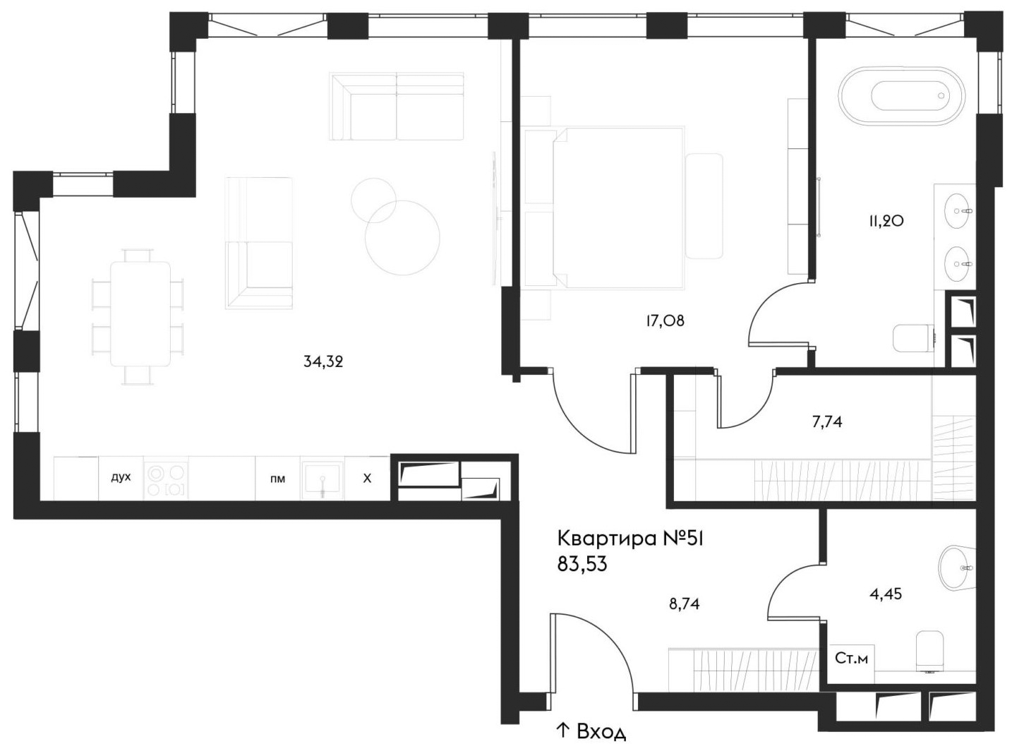 2Е-комнатная, 83.53 м²– 2
