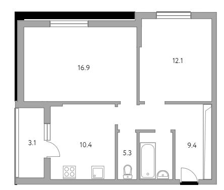 2-комнатная, 57.2 м²– 2