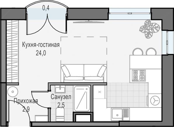 Студия, 29.5 м², 8 этаж