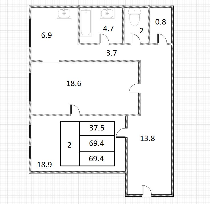2-к.кв, 69.4 м²