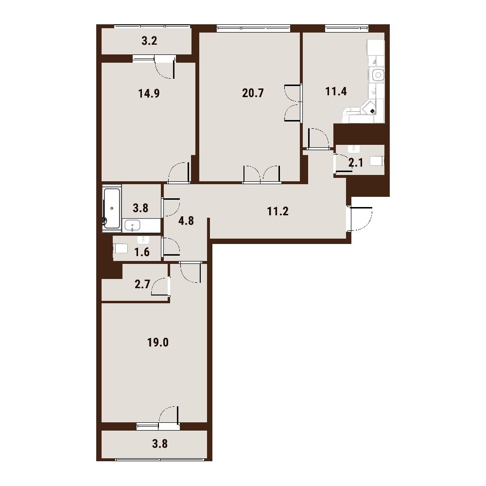 3-к.кв, 99.2 м²