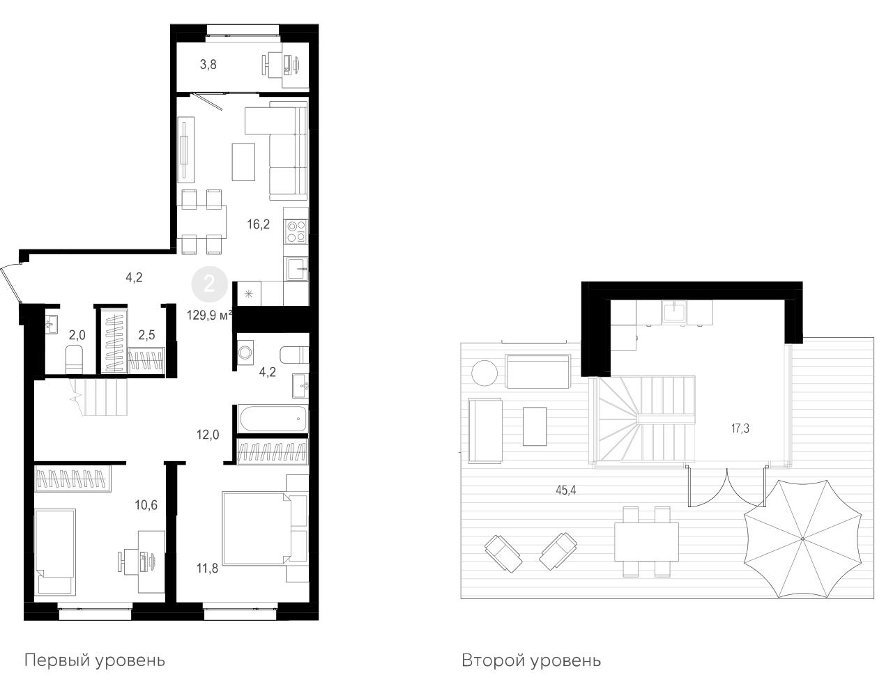 3Е-к.кв, 129.9 м²
