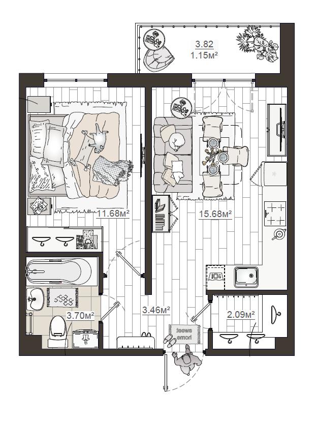 2Е-комнатная, 37.76 м²– 2