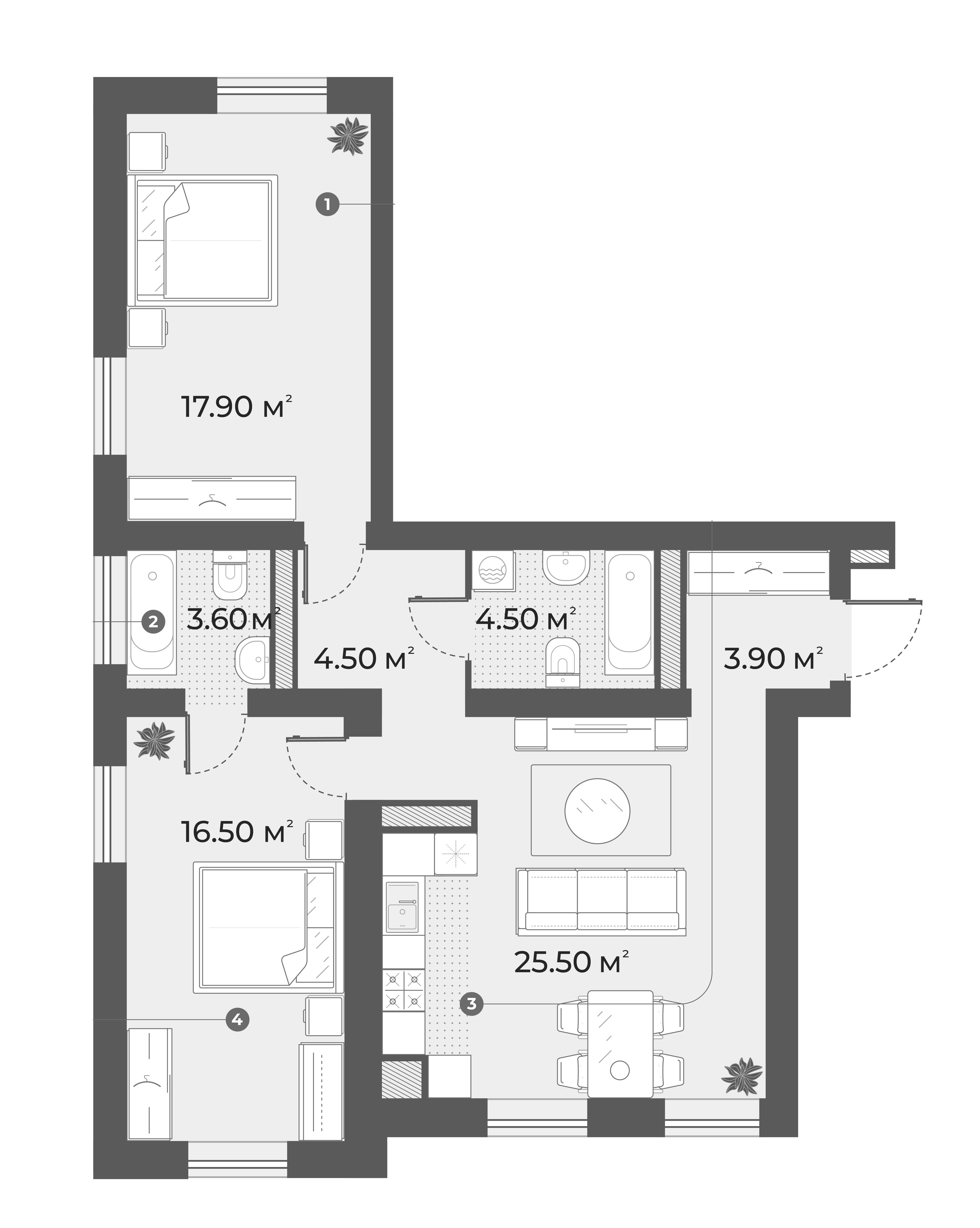 3Е-к.кв, 76.4 м², 3 этаж