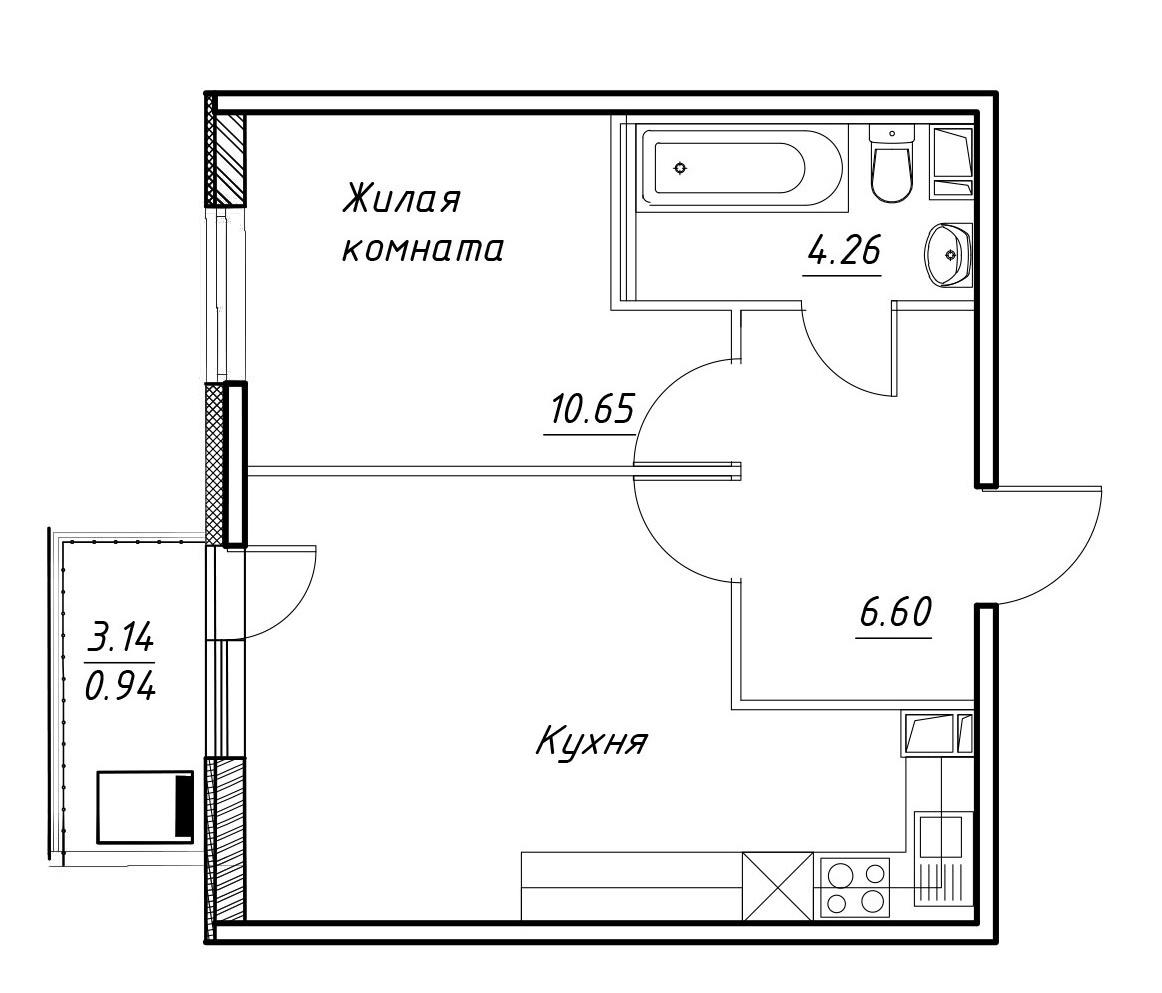 2-к.кв (евро), 43.77 м²