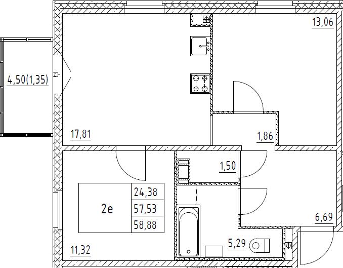 3Е-комнатная, 58.88 м²– 2