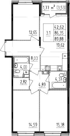 4Е-комнатная, 86.35 м²– 2