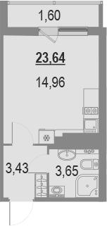 Студия, 23.64 м²– 2