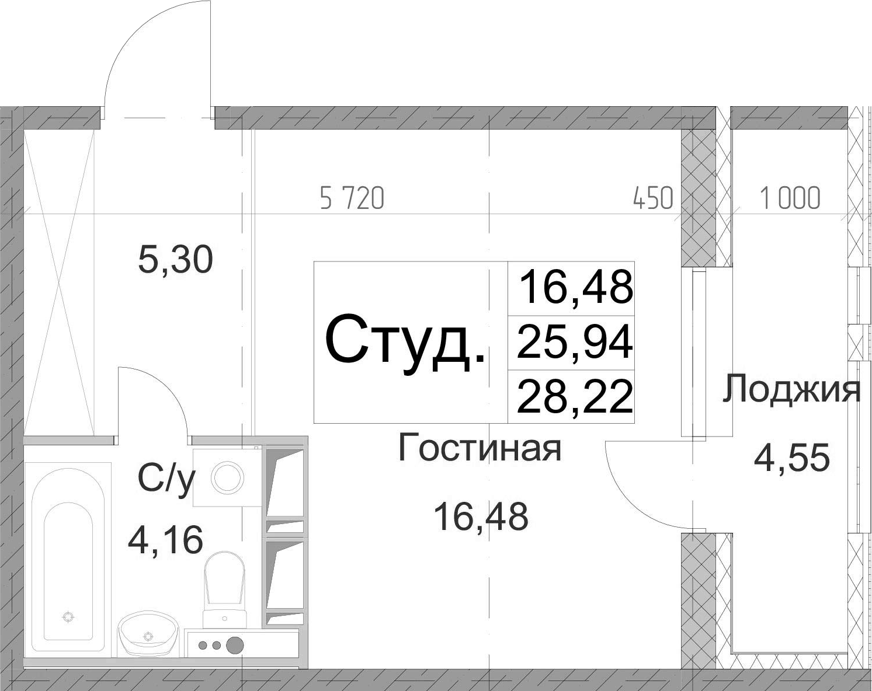 Студия, 30.49 м²