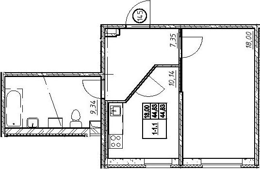 1-к.кв, 44.83 м²
