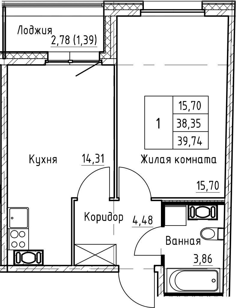 2Е-к.кв, 39.74 м², от 4 этажа