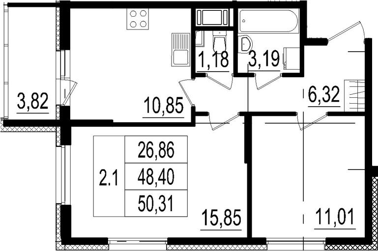 2-к.кв, 48.4 м²