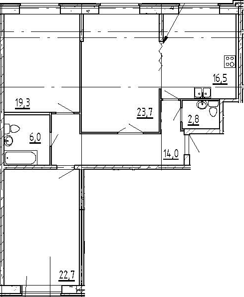 4Е-комнатная, 105 м²– 2